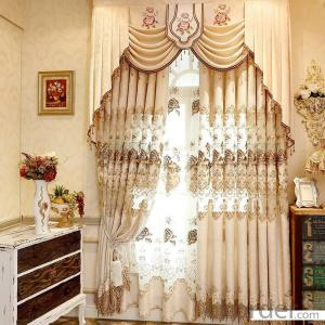 Home curtain hotel curtain  embroidery chenille jacquard blackout  curtain fabric