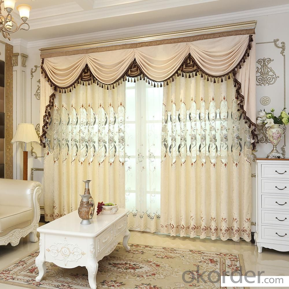 Home curtain hotel curtain blackout curtain chenille  embroidery curtain fabric