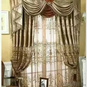 Curtain with Ready Made Solid Color Sheer