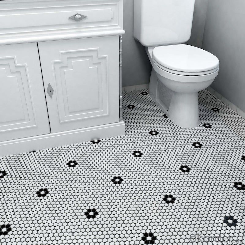 Penny Round Ceramic Mosaic Tile with White and Black Flower