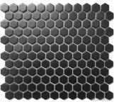 "Black 1"" Hexagon Ceramic Mosaic Tile for wall and floor"