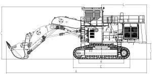 XE1250 MIning Excavator hydraulic excavator 567kw/1800rpm 115000kg
