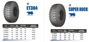 Tire for Mining truck mining loader SUPER ROCK, FORT RDT, SUPER RDT, ETDT, SUPER TRAC