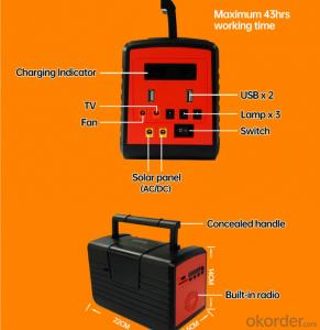 Portable Solar Home Energy Power System with Big Solar Panel LED Light Product Radio MP3