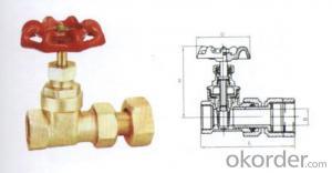 Brass water meter gate valve ; water meter gate valve