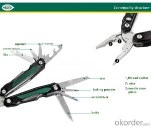 Professional Stainless Steel Multifunction Folding Plier 11 in 1 for Outdoor and Camping