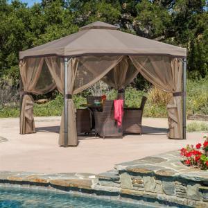 Aluminum Metal Gazebos Roman Pavilions Garden Tent with Net Curtain